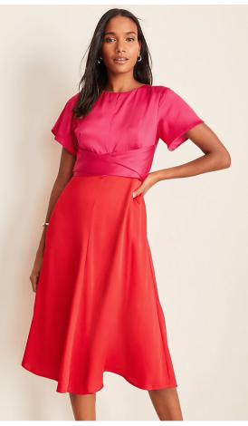 Color block wrap dress